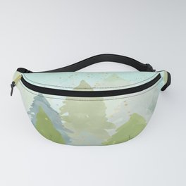 Teal Abstract Gold Glitter Forest Fanny Pack