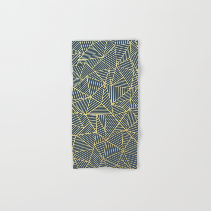 Ab Lines Gold and Navy Hand & Bath Towel