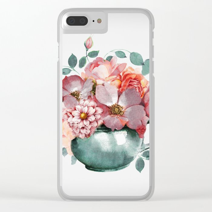 Flowers Rose in the Cup Clear iPhone Case