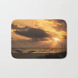 Anna Maria Island Cloudy Beach Sunset 1 Coastal Landscape Photo Bath Mat