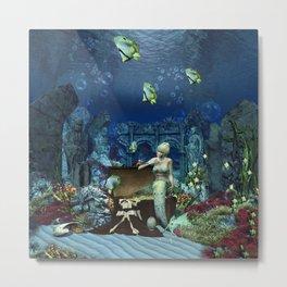 Wonderful mermaid with cute crab Metal Print