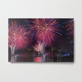 Macy's 4th of July Independence Day Fireworks show on east river with Lower Manhattan Skyline 2019 Metal Print