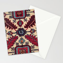 Red Feathers Lake Urmia 19th Century Authentic Colorful Blue Green Vintage Patterns Stationery Cards