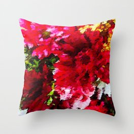 Red Gerbera Daisy Abstract Throw Pillow
