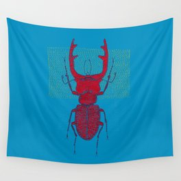Stitches: Red stag Wall Tapestry