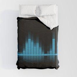 Cool Blue Graphic Equalizer Music on black Duvet Cover
