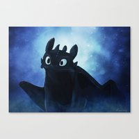 toothless Canvas Prints featuring Toothless by Liancary