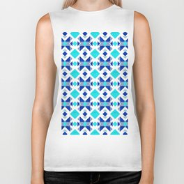 Morrocan blue tiles with marble texture Biker Tank