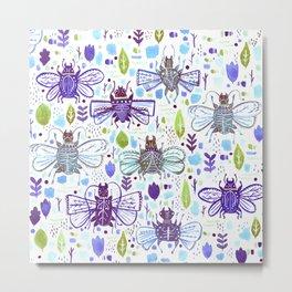 Inky Beetles Metal Print