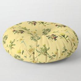 Wild Forest & Field Yellow Flower Herb Pattern Floor Pillow