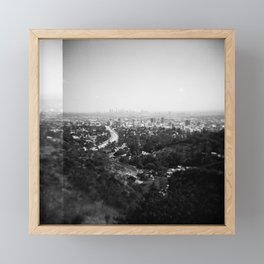 Los Angeles Skyline from Griffith Observatory - Black and White Film Photograph Framed Mini Art Print