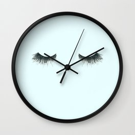 Dramatic dreaming in blue  \\ lashes, closed eyes, sleeping design for bedroom Wall Clock