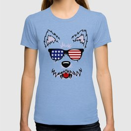 Westie Dog Face with American Flag Sunglasses T-shirt
