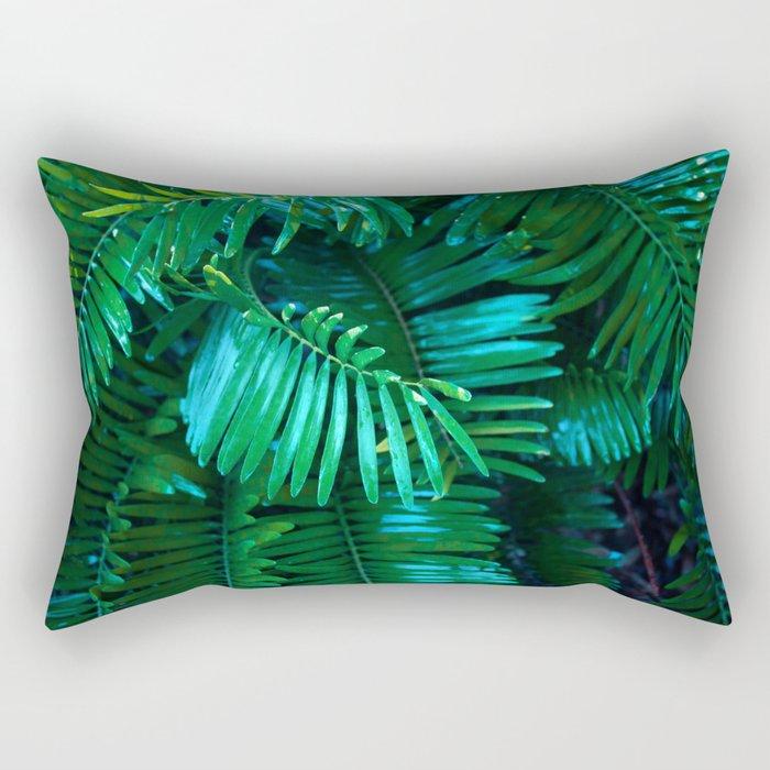 Green Palm Leaves Rectangular Pillow