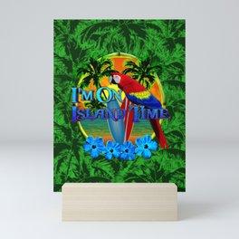 Island Time Surfing Palm Trees Mini Art Print
