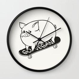 Skateboarding Vegan Pig Wall Clock