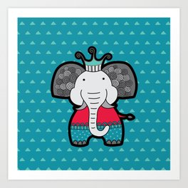 Doodle Elephant on Blue Background Art Print