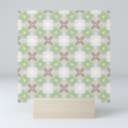 Spring vibes light green and brown shades tiles Mini Art Print