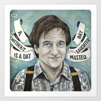 robin williams Art Prints featuring Robin Williams by Meagan Williams DeLong