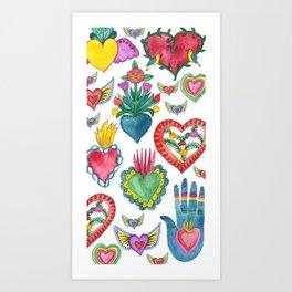 Sacred Hearts Milagros Watercolor Art Print