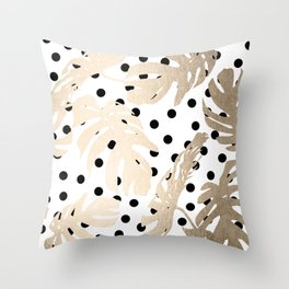 Simply Tropical White Gold Sands Palm Leaves on Dots Throw Pillow