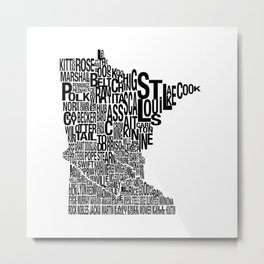 Minnesota Counties Map Metal Print