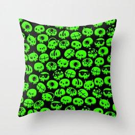 Just green skulls Throw Pillow