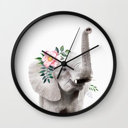 Baby Elephant with Flower Crown Wall Clock
