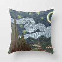 starry night Throw Pillows featuring starry night by Justin McElroy