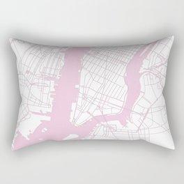 New York City White on Pink Rectangular Pillow