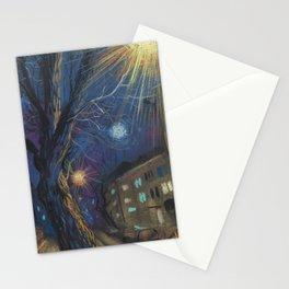 Night Landscape Pastel Painting Stationery Cards