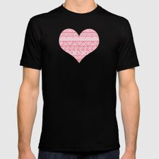 Patterned Hearts Pattern Mens Fitted Tee Black MEDIUM