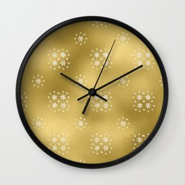 Merry christmas- white winter stars on gold pattern I Wall Clock