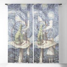 Alice & The Caterpillar Starry Night - Alice In Wonderland Sheer Curtain