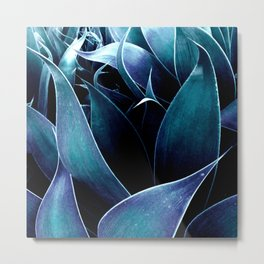 Turquoise Teal Blue Abstract Leaves Metal Print