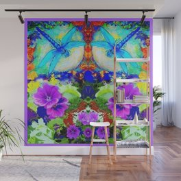 Purple Flowers with Flirting Blue Dragonflies Western Art Wall Mural