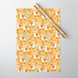 White Llama with flowers Wrapping Paper