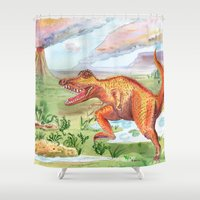 t rex Shower Curtains featuring T-Rex by Catherine Holcombe