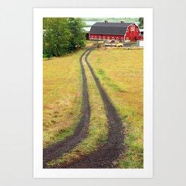 Red Barn Dirt Road Art Print