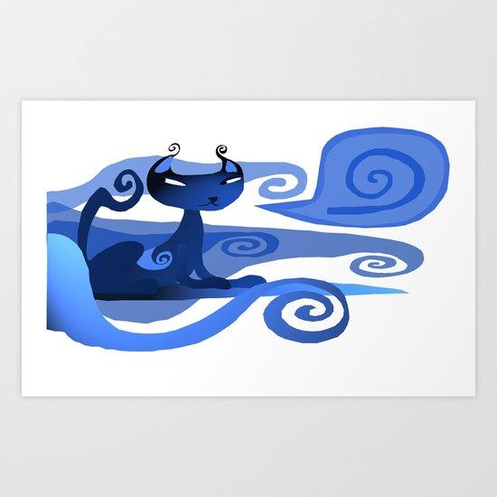 A spirally Cat  Art Print
