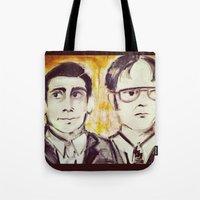dwight Tote Bags featuring Michael & Dwight by Melissa Dilger