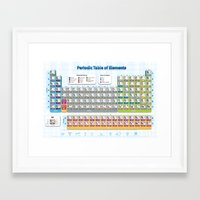 periodic table Framed Art Prints featuring Periodic Table of Elements by Hans Duenas