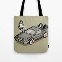 delorean Tote Bags featuring Stormtrooper and his Delorean by Vin Zzep