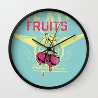 fruits Wall Clocks featuring Fruits by Tshirt-Factory
