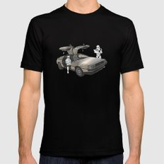 Lost, searching for the DeathStarr _ 2 Stormtrooopers in a DeLorean  Black LARGE Mens Fitted Tee