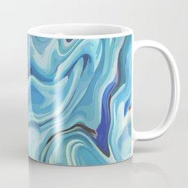 Liquid Teal Blue Marbled Agate Coffee Mug