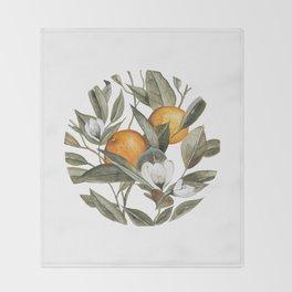 Blooming Citrus Watercolor Throw Blanket