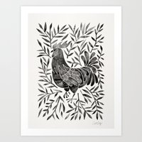 Le Coq – Watercolor Rooster with Black Leaves Art Print