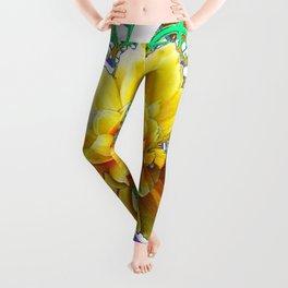 BEAUTIFUL LACY GREEN ART  & YELLOW ROSE DESIGN Leggings