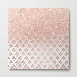 Faux rose gold glitter ombre rose gold foil triangles chevron geometric on white marble Metal Print